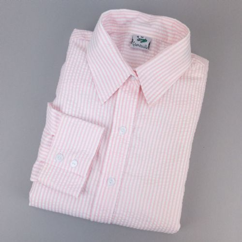 Grenouille Ladies Long Sleeve Pink and White Stripe Seersucker Shirt